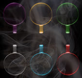 Six cups of different colors Stock Photo