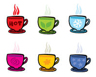 Six cups with different symbols on white Stock Photos