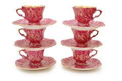 Six cups with saucers. Stacked on top of each other royalty free stock images
