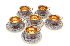 Six cups and saucers Royalty Free Stock Images