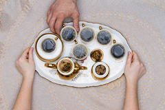 Six Cups of Turkish Coffee on a White Tray Stock Photography