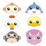 Cute cartoon animal head icons Stock Photos
