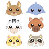 Six cute cartoon animal head Stock Photo