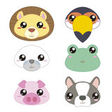 Six cute cartoon animal head Stock Images