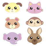 Six cute cartoon animal head Royalty Free Stock Photo
