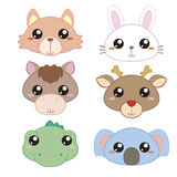 Six cute cartoon animal head Royalty Free Stock Photography
