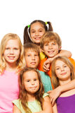 Six cute children standing together Royalty Free Stock Photography