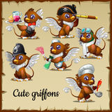 Six cute griffons engaged in their own business  Royalty Free Stock Photography