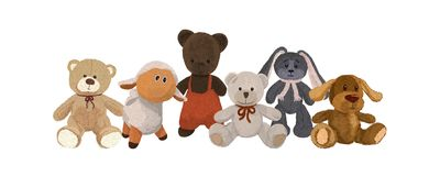 Six cute plush toys Royalty Free Stock Image