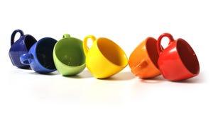 Six cuvettes colorées Photo stock
