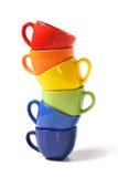 Six cuvettes colorées Images stock