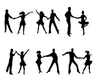 Six dancing couples. Vector illustration of a six dancing couples Royalty Free Stock Photo
