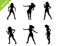 Six dancing girls. Vector illustration of a six dancing girls Royalty Free Stock Photography