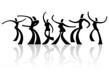 Six dancing silhouettes Royalty Free Stock Photo