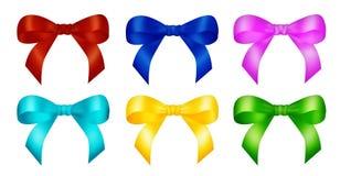 Six decorative color ribbon bows Stock Photo