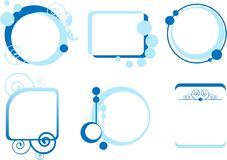 Six description boxes in blue Stock Photos