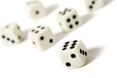 Six dice Stock Images