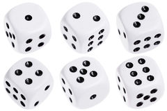 Six dice isolated on white. Six dice with numbers 1 through 6 showing isolated on white. Each die photographed individually Royalty Free Stock Photos