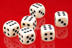Six dice. Six dice with number six Stock Image