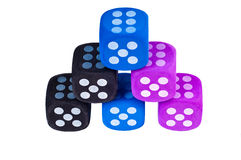 Six dice with sixes showing. Stock Images