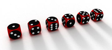 Six dices. On white surfaces (3D Royalty Free Stock Photography