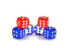 Six Die. Six dice, red, white and blue, on a white background Stock Photo