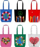 Six different bags with print Royalty Free Stock Photos