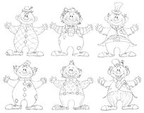 Six different clowns Stock Image