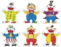Six different clowns Stock Photography