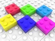 Six different color playing bricks on white brick background. In background vector illustration