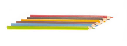 Six different colored of pencils Royalty Free Stock Photos