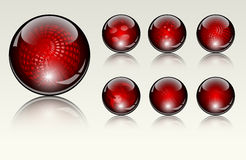 Six different crystal  spheres Stock Photo