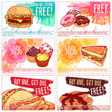 Six different discount coupons for fast-food or dessert. Stock Images