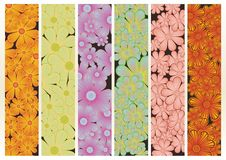 Six different floral banner Royalty Free Stock Image