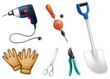 Six different kinds of construction tools Stock Photos