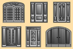 Six different kinds of Door Frames Stock Photos