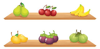 Six different kinds of fruits in the wooden shelves. Illustration of the six different kinds of fruits in the wooden shelves on a white background Stock Images