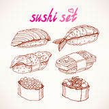 Six different kinds of sketch sushi Stock Images