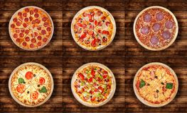 Free Six Different Pizza Set For Menu. Meat Pizzas With 1 Pepperoni 2Pepperoni And Ham 3 Salami 4 Margarita 5Pizza Pepperoni Delux Stock Image - 118038821