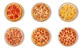 Six different pizza set for menu. Royalty Free Stock Image