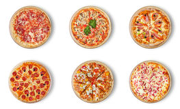 Six different pizza set for menu. Stock Photo