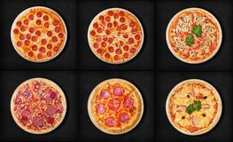 Six different pizza set for menu:.1pepperoni 2pepperoni cut 3pizza with seafood 4Classic Pizza 5salami. 6Pizza Hawaii Royalty Free Stock Images