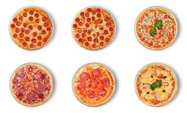 Six different pizza set for menu:.1pepperoni 2pepperoni cut 3pizza with seafood 4Classic Pizza 5salami. 6Pizza Hawaii. Six different pizza set for menu:.1 Stock Images