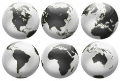 Six different positions globes isolated on white Royalty Free Stock Photo