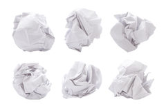 Paper ball. Six different shapes of paper ball isolated on white background Stock Photography