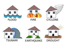 Six different simplistic vector drawings of natural disasters Stock Photography