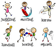 Six different sports. Illustration of the six different sports on a white background Royalty Free Stock Image