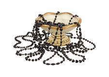 Six Different Strands Black Beads Stock Photos
