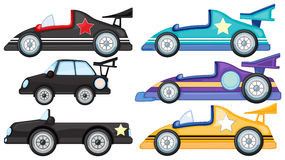 Six different styles of toy cars. Illustration of the six different styles of toy cars on a white background Stock Image