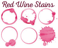 Six diffferent red wine stains Royalty Free Stock Image
